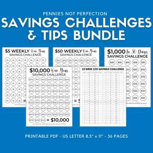 Saving Challenges Bundle + 80 Savings Tips | Save Money Challenge Trackers Printable Bundle - Pennies Not Perfection Printables 1