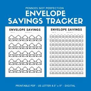 Envelope Savings Tracker Printable | Envelope Sinking Funds Tracker Chart | Save Money Printable Or Digital 1