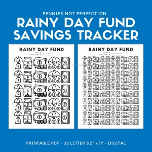 Rainy Day Fund Tracker | Savings Tracker | Savings Printable Chart