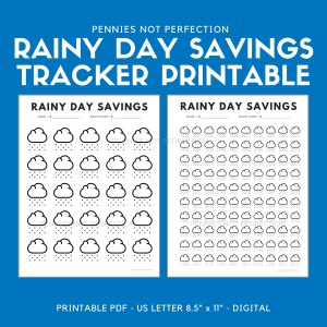 Rainy Day Savings Tracker 100 Icons - Pennies Not Perfection