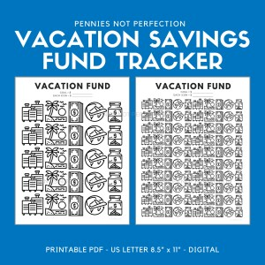 Vacation Fund Savings Tracker Printable | Vacation Savings Tracker | Savings Printable 1