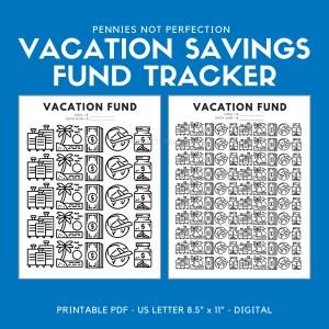 Vacation Fund Savings Tracker Printable | Vacation Savings Tracker | Savings Printable 1