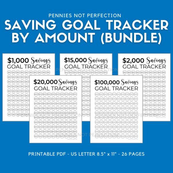 Printable Savings Goal Tracker Bundle   Savings Challenge Tracker Printables By Amount