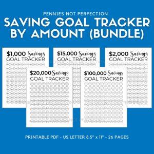Printable Savings Goal Tracker Bundle | Savings Challenge Tracker Printables By Amount
