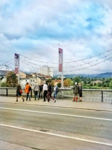 On the bridge to city center in Villach