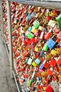 Love lock bridge in Salzburg, Austria