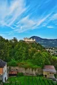 Fortress view from gardens, Salzburg, Austria
