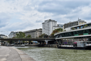River Side close to Judenplatz in Vienna Austria
