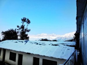 Snowy mountains from our guest house, Baba Holiday Home in Chopta, Uttrakhand