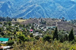 View of Sari Village from a height. The starting point of Deoria Tal near Chopta in Uttrakhand