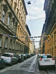 Flags on a street in Budapest, Hngary