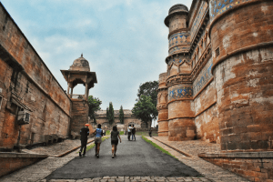 Glazed colored tiles of Gwalior Fort as you exit from Hathi Pol, in Gwalior, Madhya Pradesh or MP