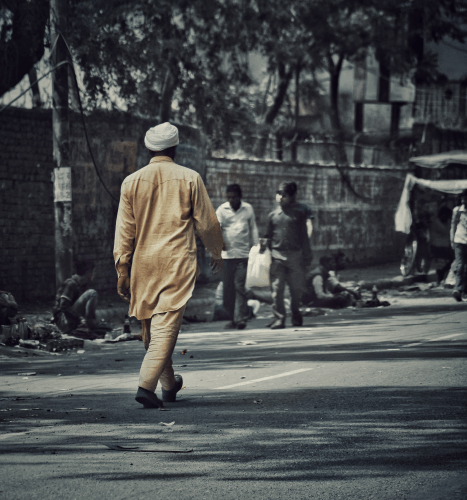 A man walking in the streets of Amritsar city