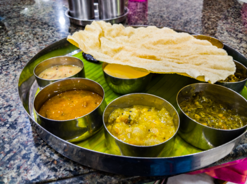 Tamilian meal at Annapoorna in Coimbatore