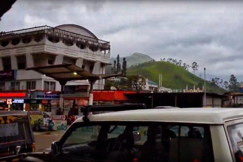 Busy Munnar town in evening