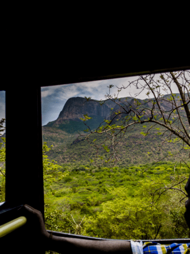 View outside as KSRTC bus enters Munnar in Kerala from Coimbatore in Tamil Nadu