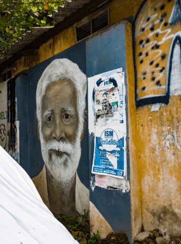 Street wall Painting of an old man