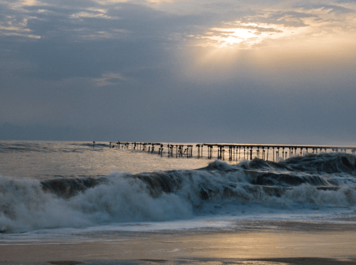 The old broken pier at the Alleppey beach