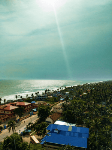 View of the beach from top of Anjengo lighthouse