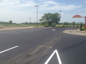 Commercial parking lot repair and repave for the McDonalds in Nashville, IL | Penninger Residential & Commercial Asphalt Paving