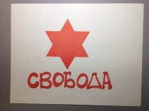 "SSSJ Flyer, depitcintg the Liberation flag of the Soviet Jews, ""Freedom"""