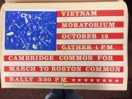 "Poster: ""Vietnam moratorium, October 15, gather 1 p.m., Cambridge Common for march to Boston Common rally, 3:30 p.m."", 1969"