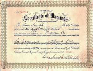Sample PA 1911 Marriage Certificate