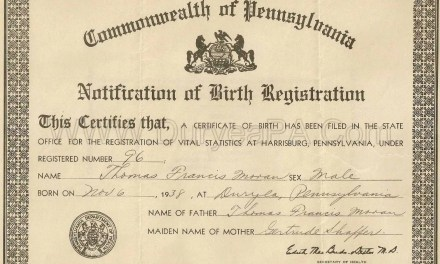 1852 – 1855 Birth Index for Chester County Pennsylvania