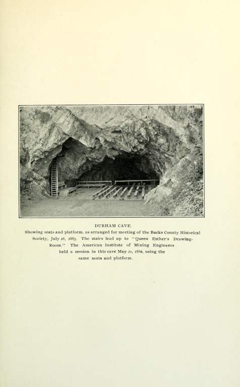 """Durham Cave. Showing seats and platform, as arranged for meeting of the Bucks County Historical Society, July 28, 1885. The stairs led up to """"Queen Esther's Drawing-Room."""" The American Institute of Mining Engineers held a session in this cave May 20, 1886, using the same seats and platform."""