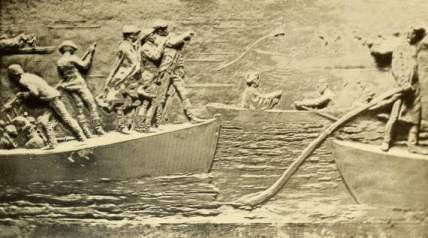 Durham Boats. Continental Army crossing the Delaware. Bronze Relief by Thomas Eakins. Trenton Battle Monument.