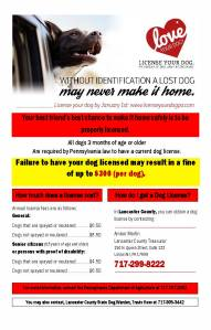 License your Dog: Call 717-299-8222
