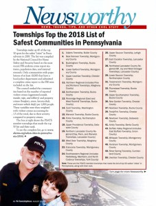 Newsworthy: Townships Top the 2018 List of Safest Communities in Pennsylvania
