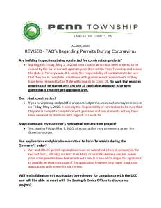 Revised FAQ's regarding Permit processing during the Coronavirus pandemic