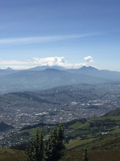 View of Quito from the teleferica (cable car) and the trail up to the volcano (Pichincha).