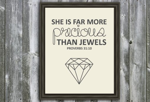 She is Far More Precious Than Jewels- Proverbs 31 Quote- Mother Quote - Wall Art - Customizable- Mothers Day Gift- Typography