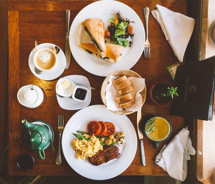 Alpaca Steak and a Vegetarian Mushroom Sandwich for breakfast at Greens Organic Cafe.
