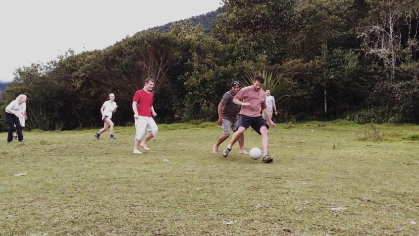 Futbol game at Llactapata