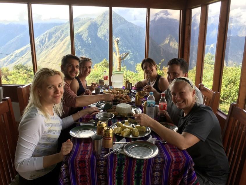 Indoor eating area at Llactapata.