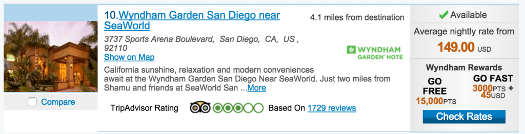 Using the Go Fast rate saves you more than $100/nt at the Wyndham Garden in San Diego.