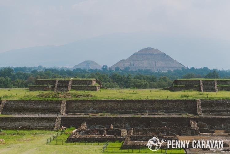 Looking down to the other pyramids from the Temple of the Feathered Serpent. This is how far you have to walk to see the whole site!