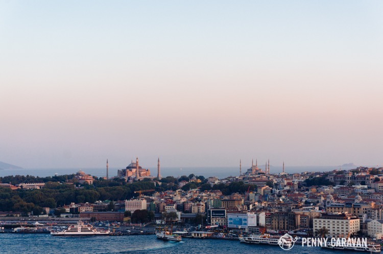 View from Galata Tower at sunset. Topkapi Palace, the Hagia Sophia and the Blue Mosque are all visible from this vantage.