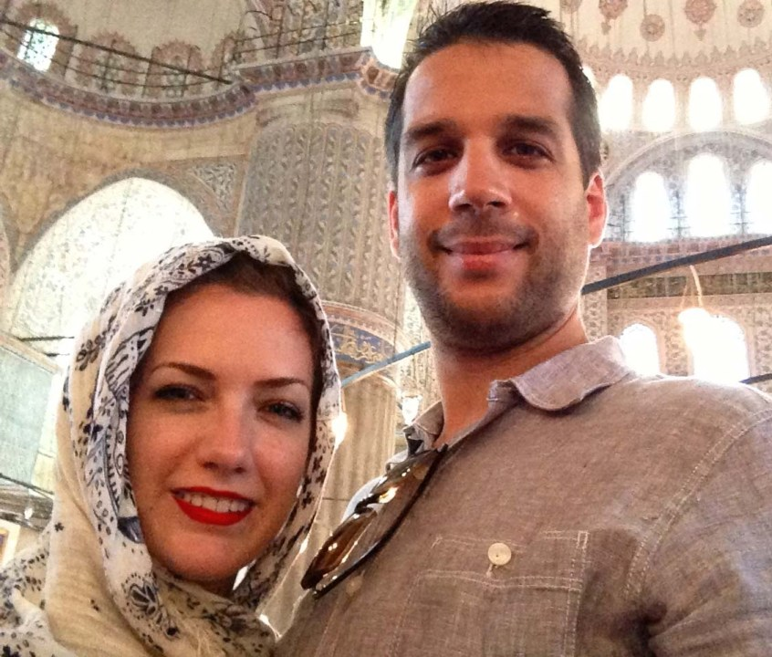 Shane and I inside the Blue Mosque.