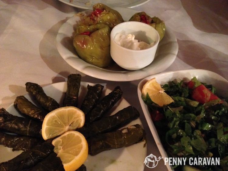 Dolmas and salad.