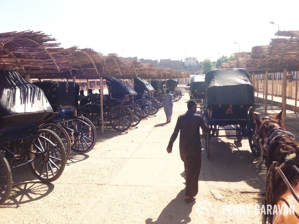 Carriage parking at Edfu Temple.