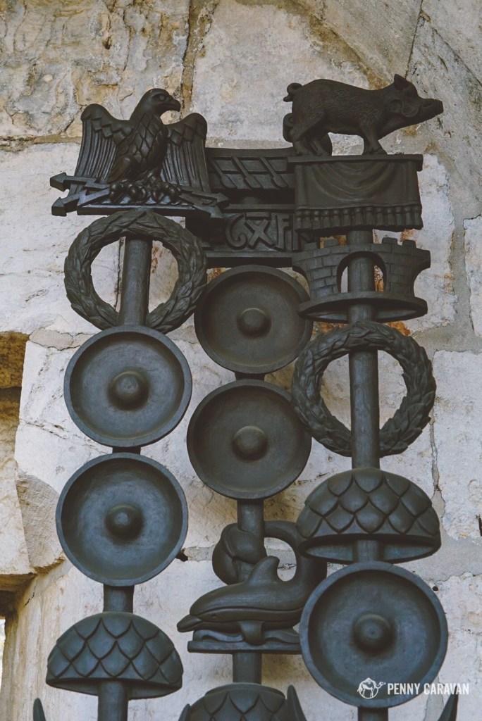 Replicas of Roman legion banners.