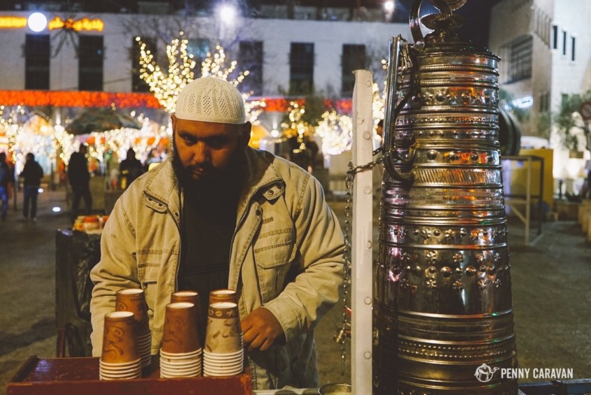Guy selling sahlab in Manger Square on Christmas Eve.