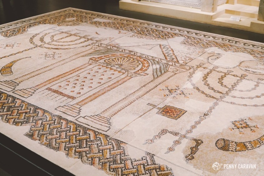Mosaic floor from an ancient temple.