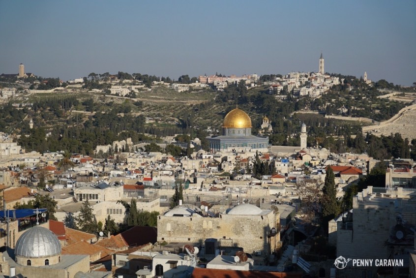 View from the top of the city walls looking to the Temple Mount, with the Mount of Olives beyond.