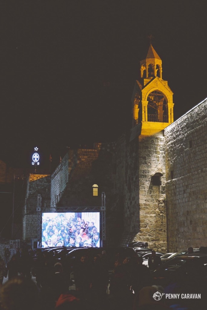 The live feed of midnight mass in Manger Square.