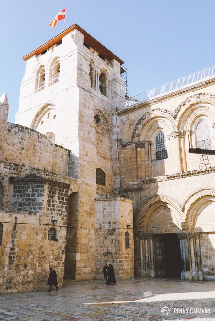 The unassuming main entrance to the Church of the Holy Sepulchre.